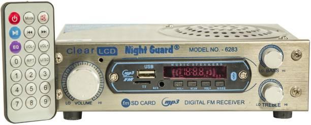 Night Guard AC/DC FM Radio Multimedia Speaker with Bluetooth, USB, SD Card, Aux AV Power Amplifier (silver) FM Radio
