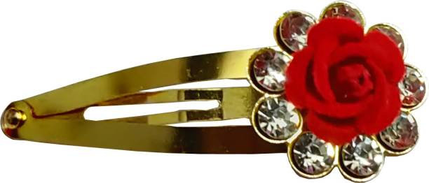 Kidzoo Fashion Red Fabric Rose Flower With Rhinestone Diamond Golden TIK TAK Pins Hair Clip For Women & Girls Rose Flower Party wear Tik Tak Hair Pins, Red Colour (Pack of 4) Tic Tac Clip