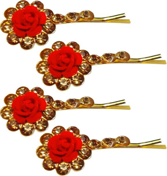 Kidzoo Bridal Red Rose Crystal Rhinestone Hair Pins Bun Hair Clips Fancy Hair Accessories For Bridal Women, Girl For Wedding, Party & Other Occasions (Pack of 4) Hair Pin