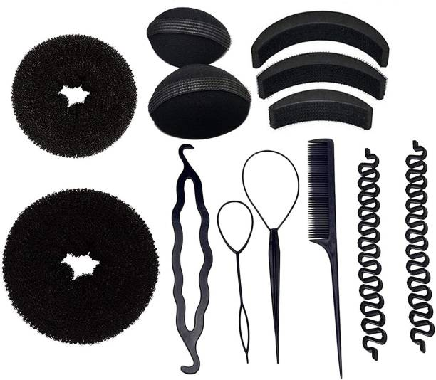 BELLA HARARO Hair Accessory Hair Styling Tools Bun Maker Combo Offer Black (Combo of 13 Pieces) Hair Accessory Set