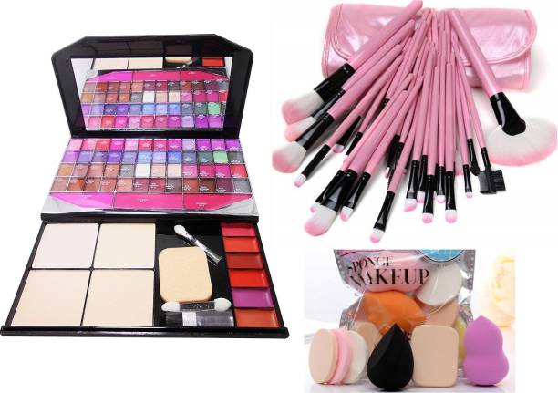 MY TYA Color Icon Fashion Makeup Kit Big + 24 Piece Premium Makeup Brushes Pink with Leather Case + Me Now 6 Piece Makeup Sponges