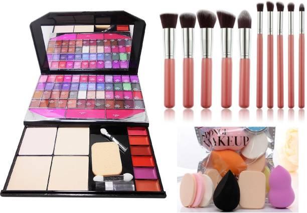 MY TYA Color Icon Fashion Makeup Kit Big + 10 Piece Premium Makeup Brushes Pink + Me Now 6 Piece Makeup Sponges