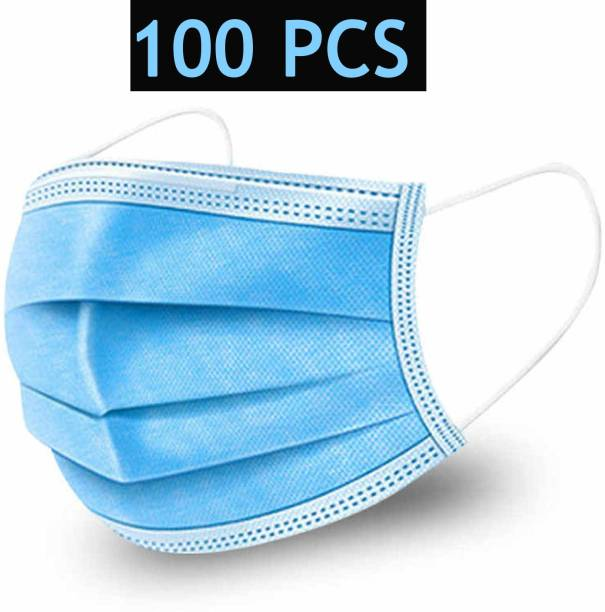 PRETVO 3 Layer 100 Piece Combo Face Mask For Men and Boys Surgical Mask