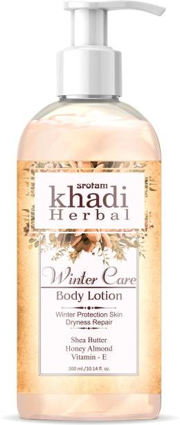 Srotam Khadi Herbal Winter Care Body Lotion with deep moisturizing effects gives dryness & soft skin (300 ml) (Pack of 1)