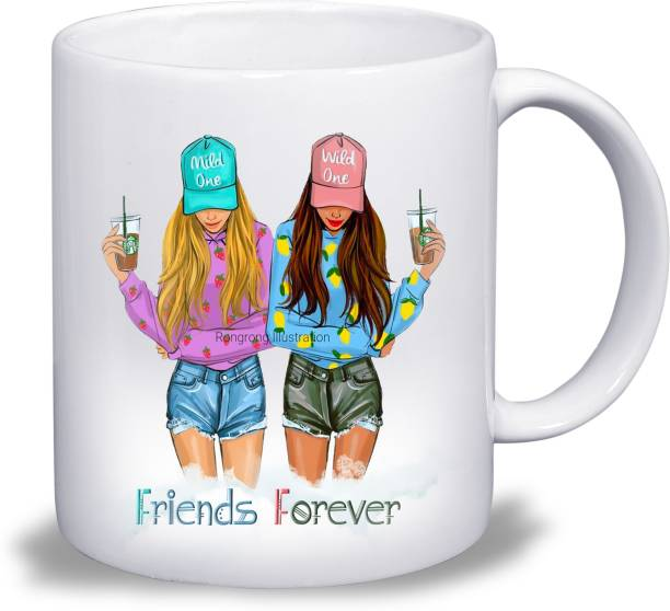 Ridhi Sidhi Design Friends Forever Crazy Girl Style Happy Friendship Day, Happy Valentines Day Designer Ceramic Coffee (330 ml) Ceramic Coffee Mug