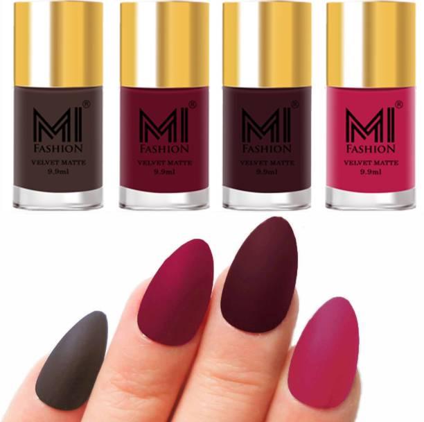 MI FASHION Premium Quality Dull Velvet Matte Nail Polish Duo Pont Flat Brush Exclusive Combo No-106 Coffee,Mauve,Wine,Pink