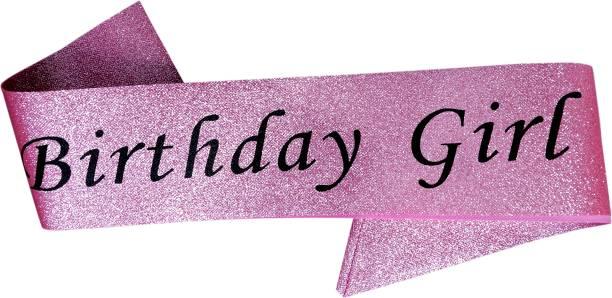 Juneja Enterprises Pink Glittery Happy Birthday Sash For Girls