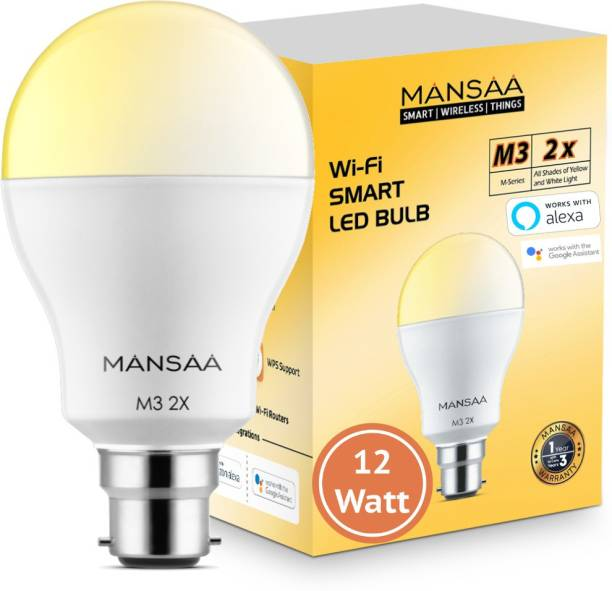 MANSAA M3 2x - 12Watt B22 Holder, Wi-Fi LED Bulb Compatible with Alexa & Google Home, White & Yellow (CCT), Dimmable, Made In India Smart Bulb