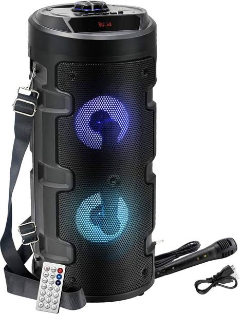 Techobucks High quality Wireless Bluetooth Super Bass Portable Party Speaker with RGB Lights, Wired Mic, Remote Control, FM Radio & Aux in/USB/TF Card Reader Input 20 W Bluetooth PA Speaker