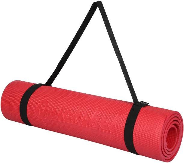 Quick Shel 100%EVA Eco Friendly Mat, Exercise & Gym Mat With Yoga Strap Red 6 mm Yoga Mat
