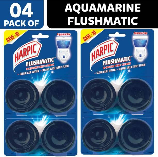 Harpic Flushmatic Twin In-Cistern Toilet Cleaner (Aquamarine) - 400 g Aquamarine Block Toilet Cleaner