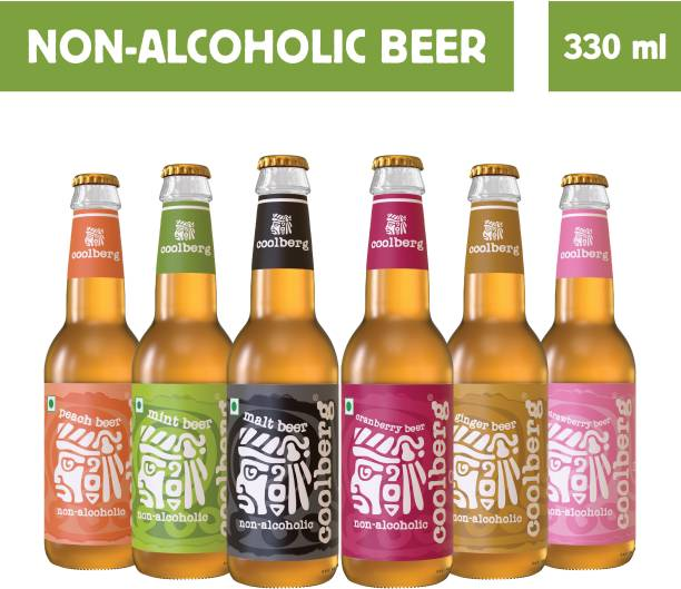 coolberg Non Alcoholic Beer Assorted Flavors - Pack of 6 (1x330ml Each) Peach, Mint, Malt, Cranberry, Ginger & Strawberry Glass Bottle