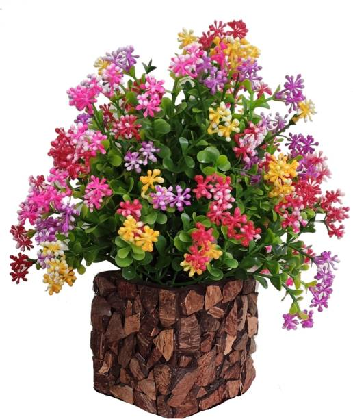 BK Mart Multicolor flower Plant with Stylish Coconut Brown Pot Bonsai Wild Artificial Plant  with Pot