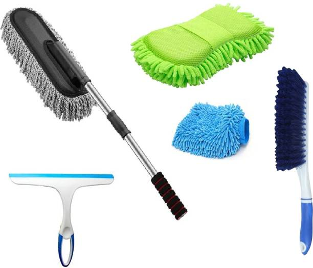 Niklace Car Cleaning Accessories Combo Pack Full Interior and Exterior Car Wash Kit All in one Microfiber Duster, Carpet Brush, Washing Scrub, Glass Wiper, Microfiber Gloves Combo