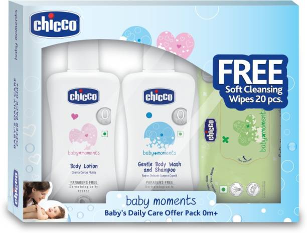 Chicco Combo Pack Gentle Body Wash and Shampoo 200ml and Body Lotion 200 ml with 20 Pcs Free Wipes