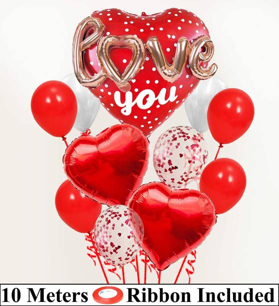 DECOR MY PARTY Printed 3D Rose Gold Love Red Heart Shape Foil Balloon Combo With Confetti , Metallic Balloons Bunch & Curling Ribbon For Valentines Day / Engagement / Wedding Anniversary Couple / Love Party Decorations / Valentines Day Decoration Items Set Balloon Bouquet