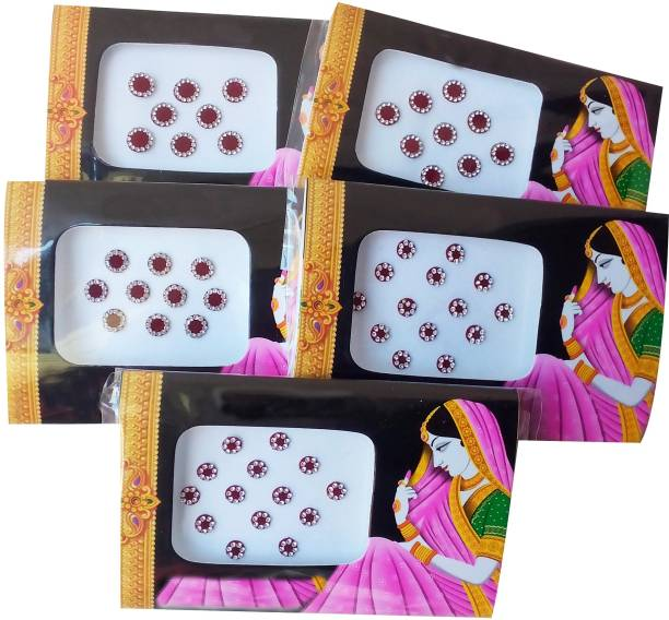 delegarde Maroon bindi with stones for women (5 packs) forehead Maroon Bindis