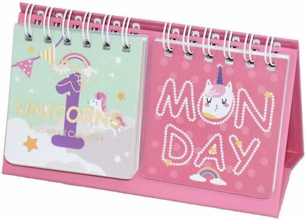 okji enterprises Unicorn Daily Desk Calendar/Daily Date Universal Calendar Magical Unicorn Pink Calendar 2021 Table Calendar