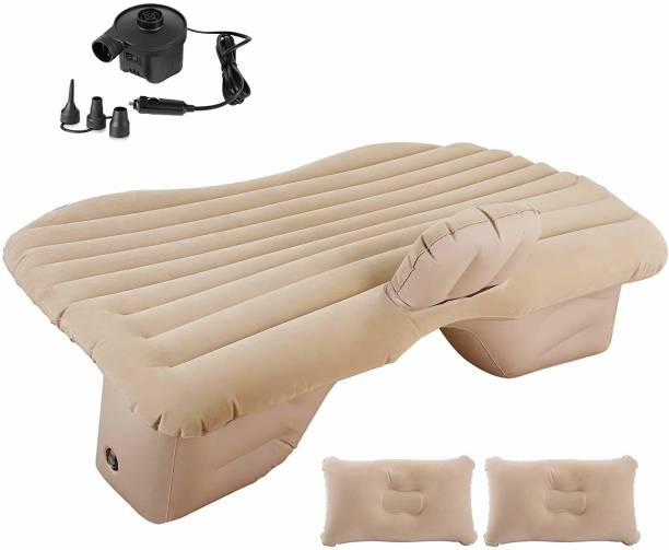 ADA Handicraft AH-Car Bed Cream-1 Inflatable Travel Car Bed Air Sofa with Two Inflatable Pillow for Car Back Seat -Car Air Bed Mattress for Car Sleeping Bed Travel Inflatable Backseat Mattress Car Inflatable Bed