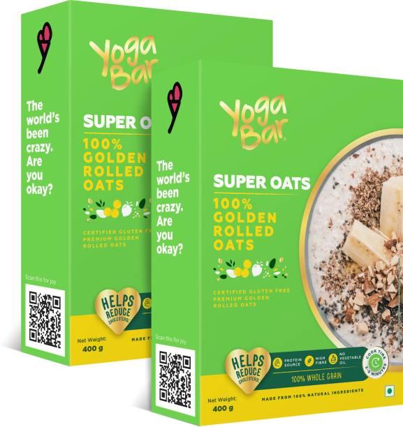 Yogabar Super Oats 100% Rolled Oats, Pack of 2 - 400g each | Premium Golden Rolled Oats, Gluten free Oats with High Fibre, 100% Whole grain, Non GMO, No Added Sugar | Ideal Breakfast for Weight Loss