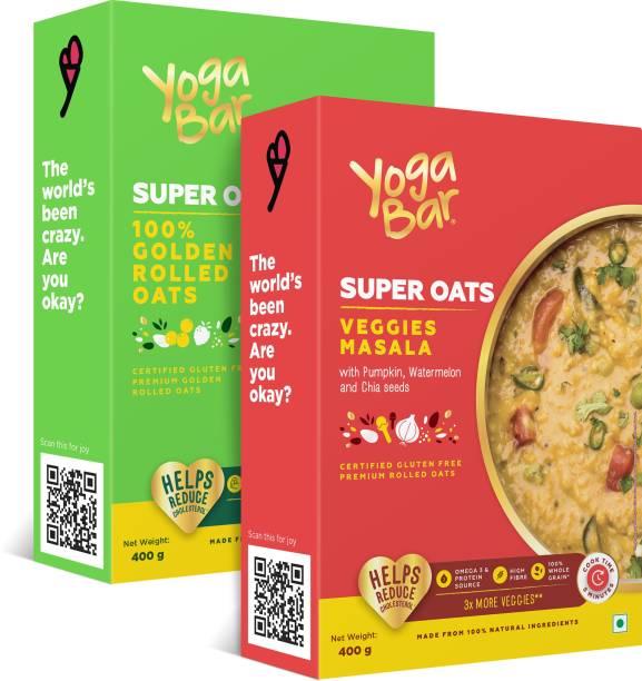 Yogabar Super Oats Super Saver Combo | 400g each, Pack of 2 | 100% Rolled Oats | Veggies Masala Oats |Ideal Breakfast Oats for Weight Loss