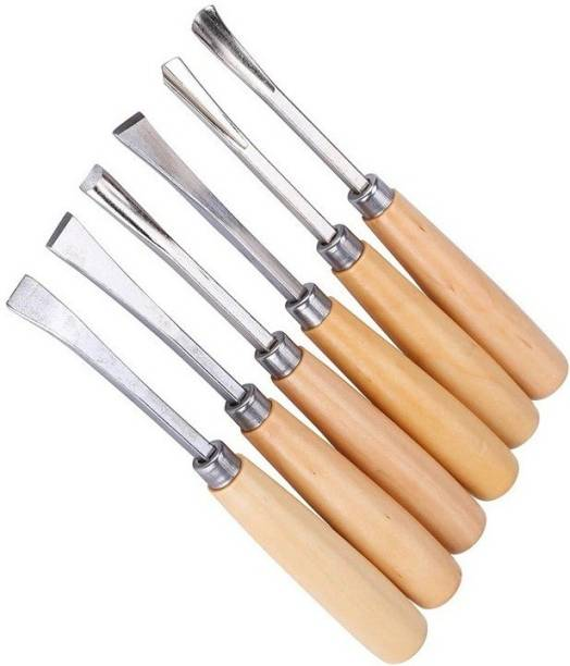 Inditools High Quality 6pc Wood Carving use for wood working Bevel Chisel Set