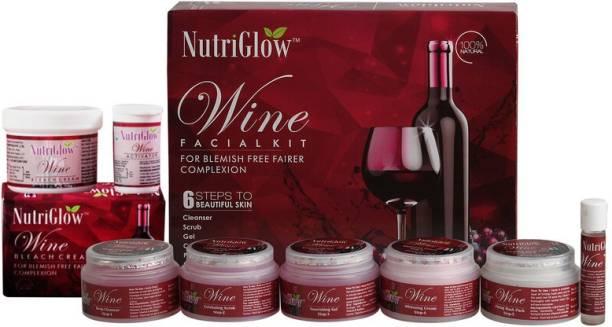 NutriGlow Red Wine Facial Kit (250 gm) + Wine Bleach Cream (43 gm) /Natural Glow /Deep Cleanses /Glowing Skin/ All Skin Type