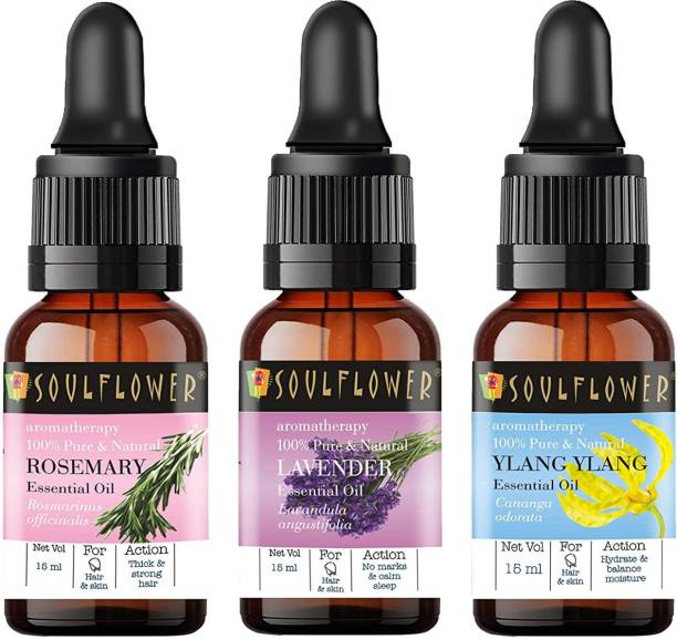 Soulflower Essential Oil Ylang Ylang 15ml, Lavender 15ml, Rosemary 15ml, 100% Premium & Pure, Natural & Undiluted, For Steam Inhaler, Cough, Cold, Hair Growth, Volume,Scars, Clear Skin, Skin & Face