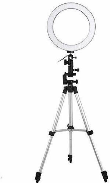 HappyCraft Big Selfie Ring Light with Tripod Stand for Live Stream-LED Ring Light with Phone Holder Dimmable Makeup Light with 3 Light Mode,10 Level Brightness for Tik-Tok YouTube Ring Flash (Black, White, Silver) Ring Flash