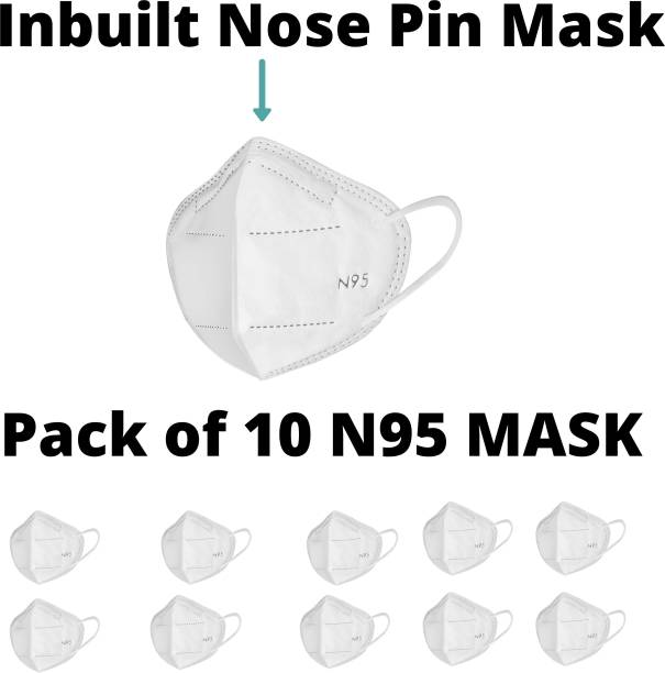 LOIS CARON FM-77 N95 MASK WITH METALLIC NOSE PIN REUSABLE ANTI-POLLUTION , ANTI-VIRUS BREATHABLE FACE MASK N95 WASHABLE ( WHITE) FOR MEN , WOMEN AND KIDS MASK , REUSABLE, WASHABLE Reusable