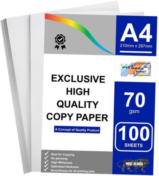 MAJESTIC BASKET Exclusive High Quality Copier Paper 70 GSM - [100 Sheets] Both Side Plain A4 70 gsm Multipurpose Paper