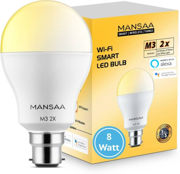 MANSAA M3 2x - 8 Watt B22 Holder, Wi-Fi LED Bulb Compatible with Alexa & Google Home, White & Yellow (CCT), Dimmable, Made In India Smart Bulb