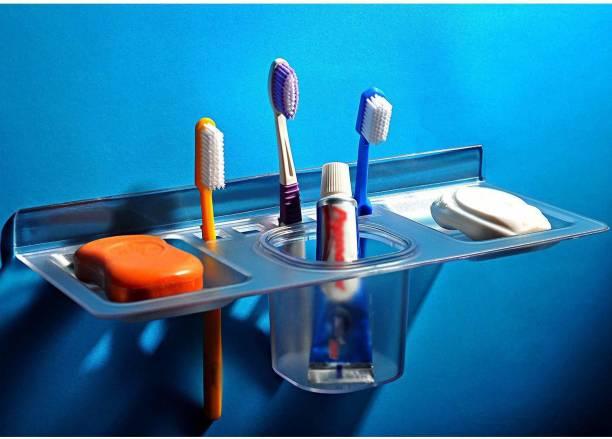 Supreme Bazaar 4 IN 1 Soap case/Toothbrush holder/paste holder Acrylic PP Acrylic Toothbrush Holder Acrylic Toothbrush Holder