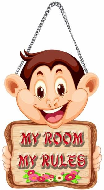 S K Bright Wooden My Room My Rules Name Plate