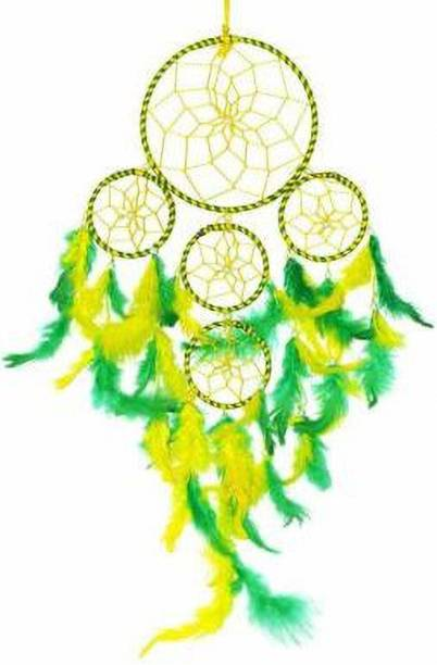 Ryme Yellow And Green 5 Rings Dream Catcher Wall Hanging Wool Dream Catcher