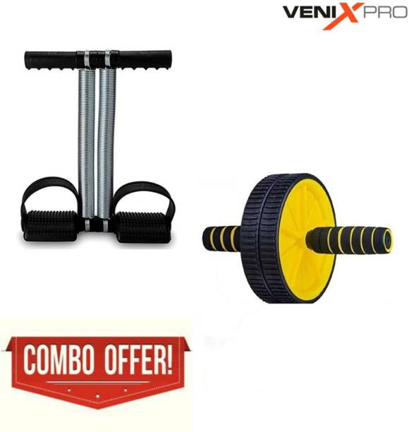 Venix Pro Combo of Tummy Trimmer with Double Spring & AB Double Wheel Roller Exerciser Ab Exerciser