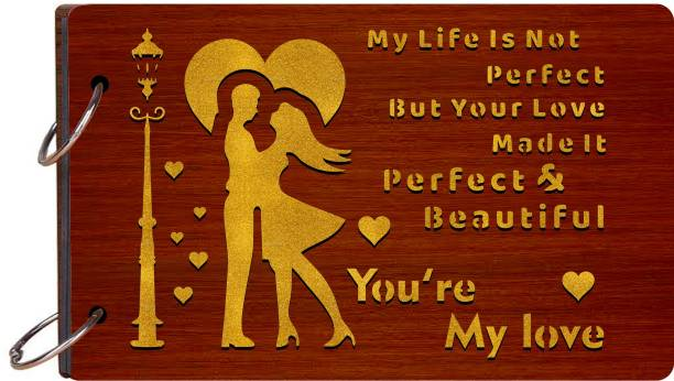 Craft Qila My life is not perfect but your love Wooden Scrapbook Photo Album for Memorable Gift Size (26cm x 16cm x 4cm) Album