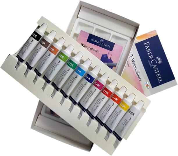 FABER-CASTELL Majestic Basket Creative Studio 12 Shades Watercolours Set Alongwith Colour Palette