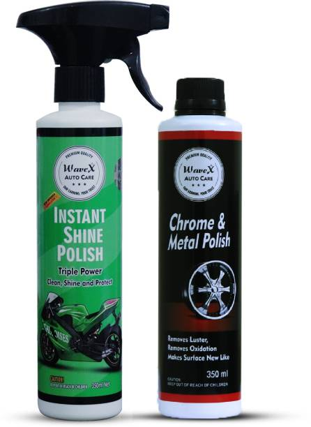 Wavex Chrome and Metal Polish 350 GMS, Instant Spray Car and Bike Polish 350ML Combo