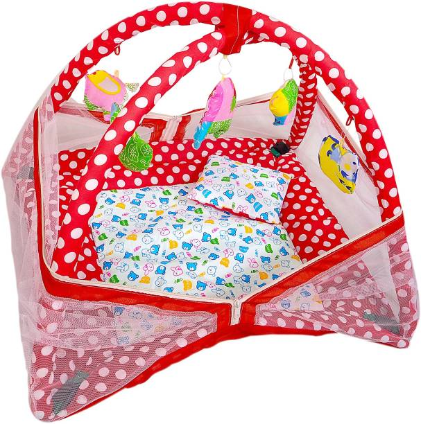YNA Baby Kick Play Gym Mosquito Net Baby Bedding Set (Red)