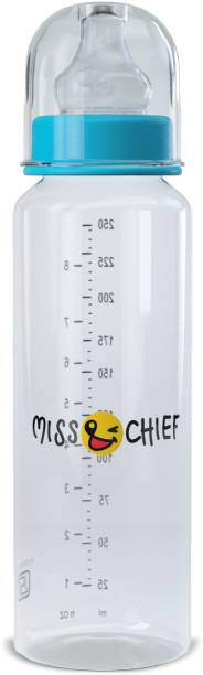 Miss & Chief Feeding Bottle-250 ML Thin Neck Blue - 250 ml