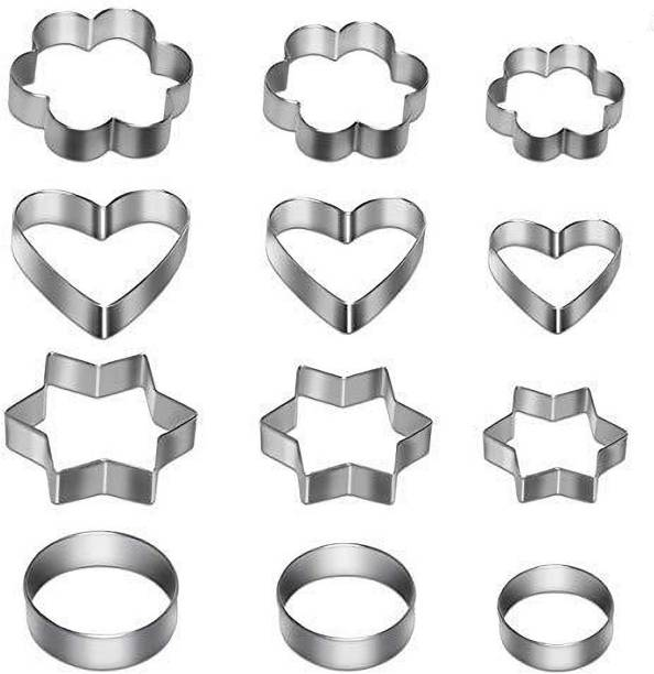 chopvio Cookie Cutter 12 Pcs Set Pastry Fruit Molds Stainless Steel Heart Flower Round Star Biscuit Mould Fondant Cutting Cutters With 4 Shape, Pieces Piece Cutter, Metal Cake Vegetable Set, Hearts Flowers Stars Silver (Pack of 12) Cookie Cutter