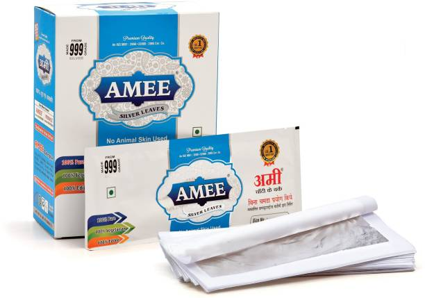Amee Silver Leaves / Varkh / Foil / Leaf , Size No.: 36-150 , Vegetarian For Food, Sweets, Medicine and For Performing Religious Activities Glitters