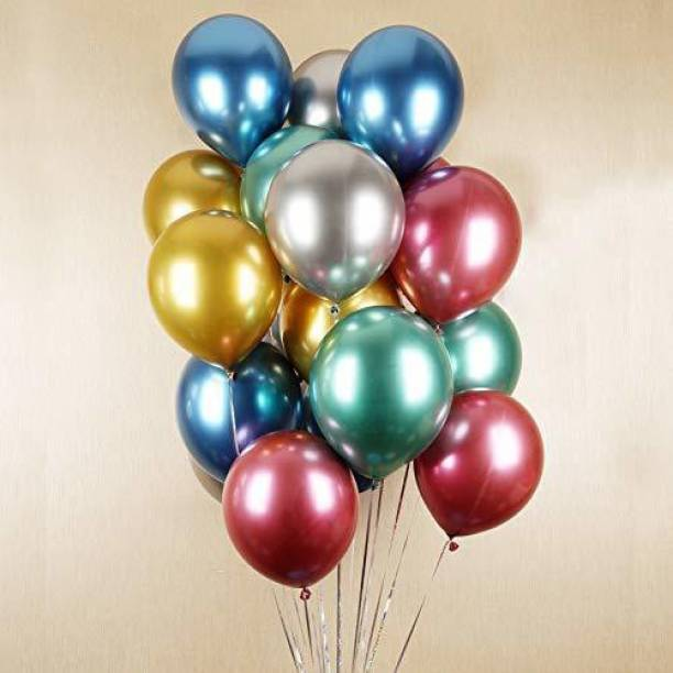 CherishX.com Solid Metallic Colour Balloons for Party Decorations Pack of 100 - Green, Silver, Purple, Blue and Golden Metallic Balloon