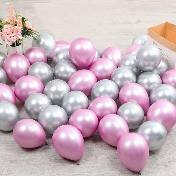 CherishX.com Solid Metallic Colour Balloons for Party Decorations Pack of 100 - Pink and Silver Metallic Balloon