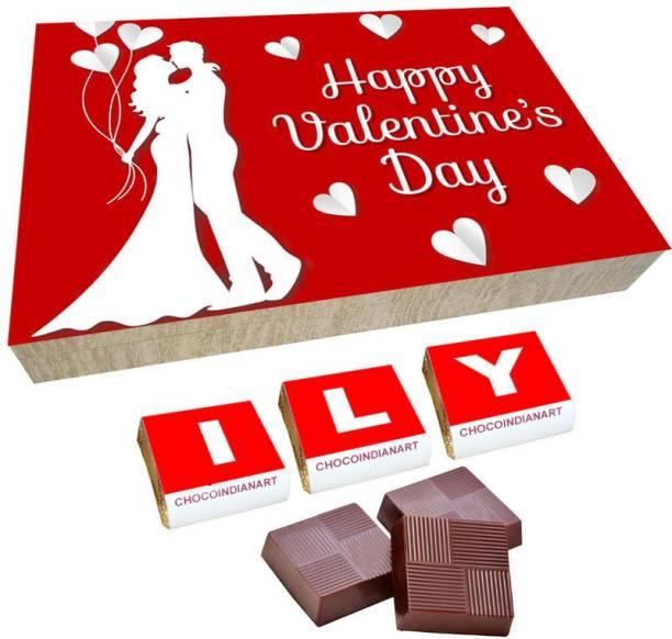 CHOCOINDIANART Lovely Happy Valentine's Day, 12pcs Chocolate Gift Box, Truffles