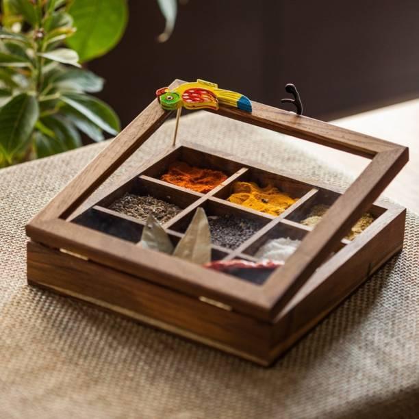 ExclusiveLane 9 Partitions Teak Wood Bird 1 Piece Spice Set