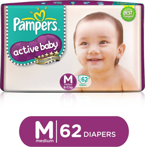 Pampers Active Baby Taped Diapers 5 Star Skin Protection - M