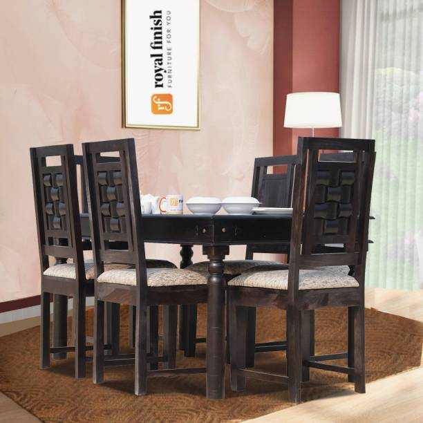 ROYAL FINISH THECSR-RF-DT-0001-6s Solid Wood 6 Seater Dining Set