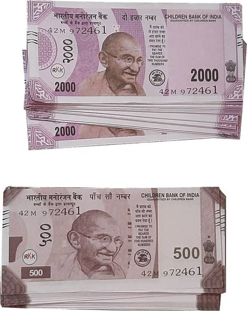 VK MART Indian fake Currency notes ( Rs.500, Rs.2000 Notes 200pc) Children Dummy fake Notes for kids. Money Gag Toy